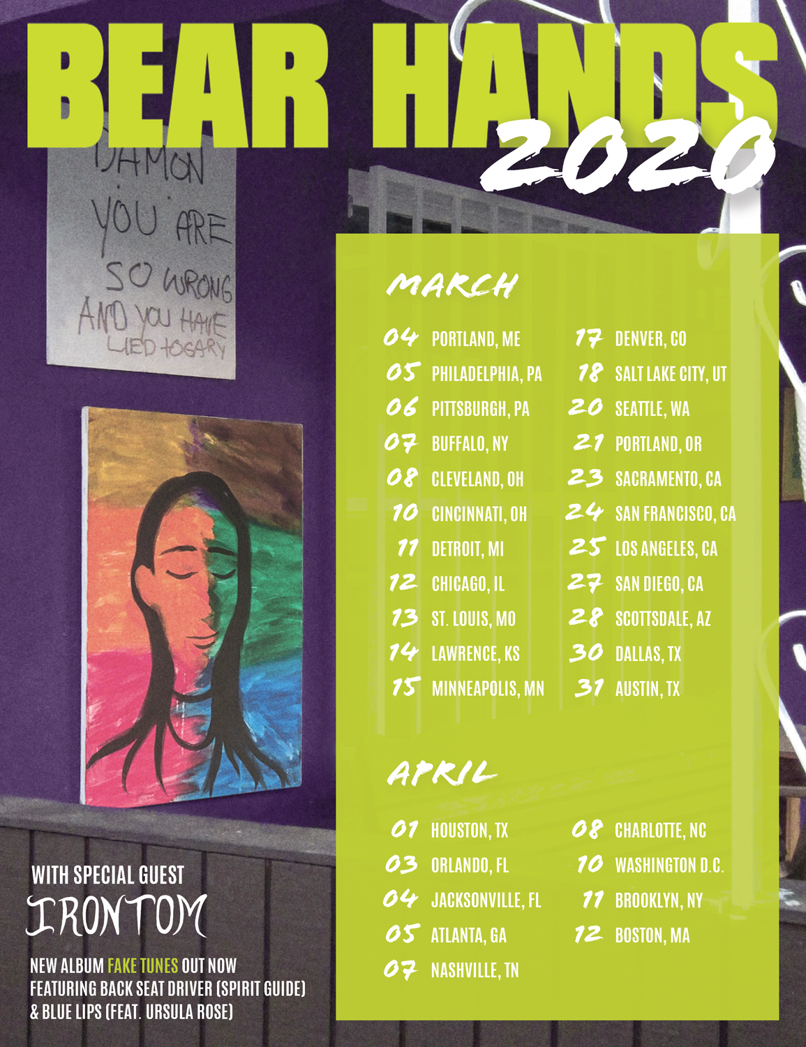 Bear Hands 2020 Tour Flyer